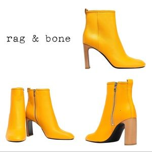 Rag & Bone Ellis Citrus Yellow Leather Ankle Boots